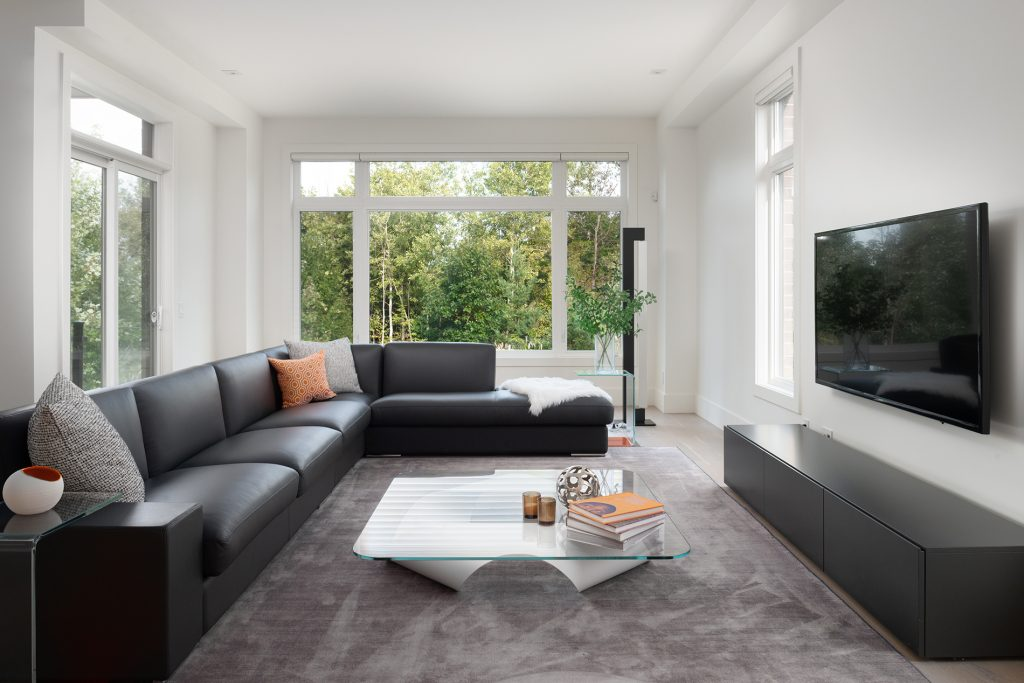 A one point perspective of the living room emphasizing the surrounding greenery.